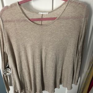 2 long sleeve flowy tops- grey and beige